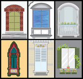 Windows and door vector set, colors design,. Fashion style Royalty Free Stock Photography