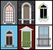 Windows and door vector set, colors design,. Fashion style Royalty Free Stock Photos