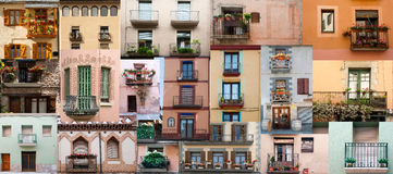Windows doors and balconies. A collection of windows doors and balconies from catalonia royalty free stock images