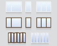 Windows and doors. Made of wood and plastic Stock Photos