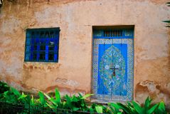 Windows and doors in Morocco. Windows and doors - Blue window and blue door in Rabat, Morocco royalty free stock photography