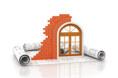 Windows on the drawings Royalty Free Stock Photography