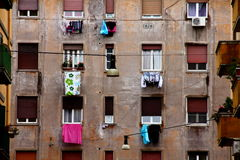 Windows. With drying laundry in block of appartments in Rome Royalty Free Stock Photography