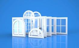 Windows e fundo azul Imagens de Stock Royalty Free