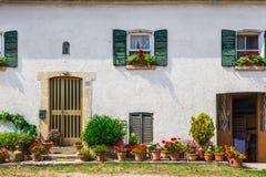 Windows e porte in una vecchia casa decorata con il fiore Fotografie Stock Libere da Diritti