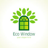 Windows eco vector logo. Template icon of constructing architectural or environmental company in a shape of green arch window with the crown of leaves. Sign to Royalty Free Stock Photography