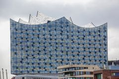 Windows of the Elbphilharmonie Hamburg, Germany. The new building of the Elbphilharmonie in Hamburgs Hafencity features unique windows. Never before used Royalty Free Stock Images