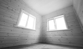 Windows in empty room, wooden interior Stock Photos