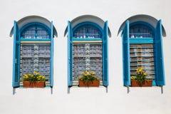 Windows en el monasterio de Nicolás de los agios Imagen de archivo