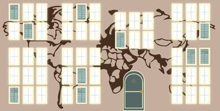 Windows en el mundo ilustración del vector