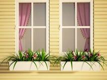 Windows en la casa y las plantas Imágenes de archivo libres de regalías