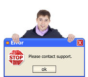 Windows error. Handsome boy with windows error banner Stock Image