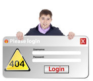 Windows error login. Boy with windows error login Royalty Free Stock Image