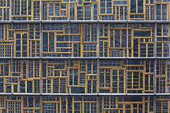 Windows of the Europa Building. The facade of the Bloc A of the Europa Building in Brussels, Belgium, is a patchwork of traditional wood-frame windows from Stock Photos