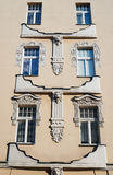Windows on the facade of the Art Nouveau building Royalty Free Stock Image