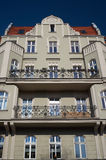 Windows on the facade of the Art Nouveau building Stock Image
