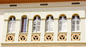 Windows facade of a building. In Sitges, Barcelona Royalty Free Stock Photography