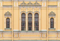 Windows on facade of the Church of Saint Isidore. Several windows in a row on facade of the Church of Saint Isidore front view, St. Petersburg, Russia Royalty Free Stock Photography