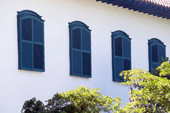 Windows in facade of colonial style, in Sao Paulo. SAO PAULO, SP, BRAZIL - MAY 16, 2015 - Windows in colonial style of the Monastery of Luz one of the last royalty free stock image