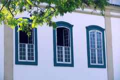 Windows in facade of colonial style, in Sao Paulo Stock Image