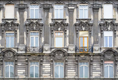Windows on the facade in neo-baroque style. Budapest, Hungary royalty free stock image