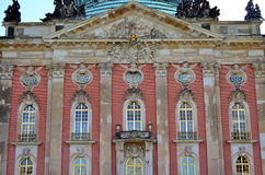 Windows and facade of new palace at castle sanssouci, potsdam Stock Image