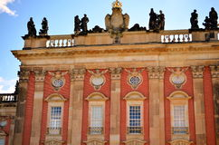Windows and facade of new palace at castle sanssouci, potsdam Royalty Free Stock Images