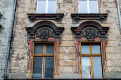 Windows and facade of old building. POLAND, POZNAN - 28 JUNE 2015: Windows and facade of old building Old Town Strzelecka Street stock photo