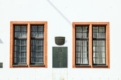 Windows at the facade of the Old University in Mainz, the Domus Universitatis Stock Photos