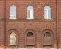 Windows on facade of St. Petersburg University Russian Interior Ministry Royalty Free Stock Photo
