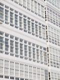 Windows facade of typical buildings in La Coruña, Stock Image