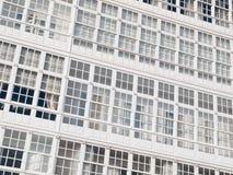 Windows facade of typical buildings in La Coruña, Stock Images