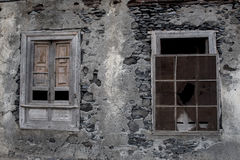 Windows in a fallen house. On the beach in Gomera Island Royalty Free Stock Images