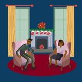 Winter festive season couple in decorated living room vector illustration