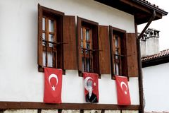 Windows with flags in Safanbolu royalty free stock photo