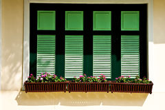 Windows and flower boxes Royalty Free Stock Photos