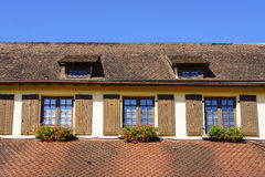 Windows with flowers in Alsace, France Royalty Free Stock Photo