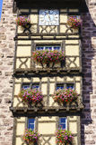 Windows with flowers in Alsace, France Stock Images
