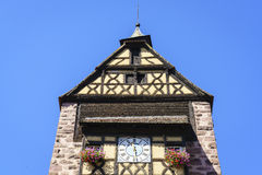 Windows with flowers in Alsace, France Royalty Free Stock Image