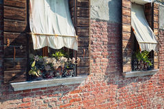 Windows with flowers and awning Royalty Free Stock Image