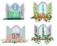 Windows with flowers box design set Royalty Free Stock Image