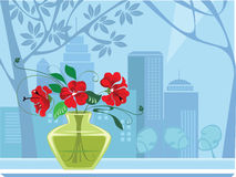 Windows and flowers in vase. Decorative vector image of the flowers in vase Stock Photography
