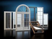 Windows - fondo oscuro, ejemplo 3D stock de ilustración
