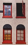 Windows. Four red windows, one is open Stock Photo