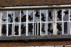 Windows fracassato nella fabbrica abbandonata di Unigate, grande Torrington, Devon, Inghilterra Fotografie Stock