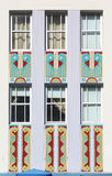 Windows & friezes of Art Deco building Stock Photo