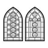 Windows gótico Marcos del vintage Ventanas de cristal de colores de la iglesia libre illustration