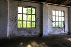 Windows in a garage stock photo