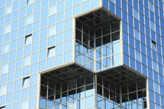 Windows in glass wall. Windows of modern house with glass walls - cubes (Prague, Czech Republic royalty free stock photos