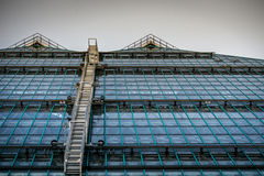 Windows. Going up streucture prospective lines stairs green blue tint amazing structure Royalty Free Stock Image